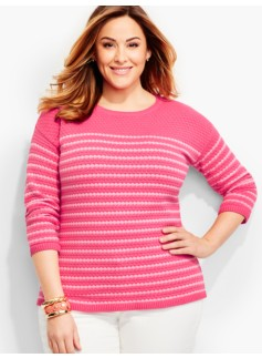 Bubble-Textured Sweater-Colorblocked Stripes