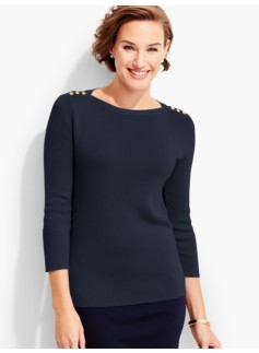 Button-Shoulder Sweater Topper-Fashion Colors