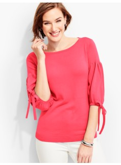 Tie Juliet-Sleeve Sweater-Tipping Trimmed