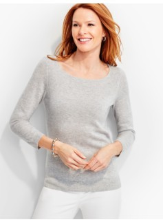 Ribbed Yoke Bateau Neck Cashmere Sweater